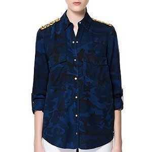 """<p>This blouse packs a serious fashion punch with nods to both the military and baroque trends.</p><p>Camouflage blouse with appliques, £39.99, <a href=""""http://www.zara.com/webapp/wcs/stores/servlet/product/uk/en/zara-neu-W2012-s/329004/1124056/CAMOUFLAGE%20BLOUSE%20WITH%20APPLIQU%C3%89S"""" target=""""_blank"""">Zara</a></p>"""