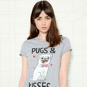 """<p>Everyone needs kisses and puppies in their life. Failing that, a t-shirt with a pug and little hearts on it will have to do.</p><p>Pugs & kisses, £28, <a href=""""http://www.urbanoutfitters.co.uk/pugs+kisses/invt/5111436070002/&colour=Grey"""" target=""""_blank"""">Urban Outfitters</a></p>"""