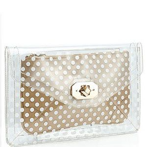 <p>Want a bag that'll instantly update your look? This Accessorize clutch is bang on trend with its transparent envelope with a polka dot clutch inside so your belongings are safe from prying eyes.</p>