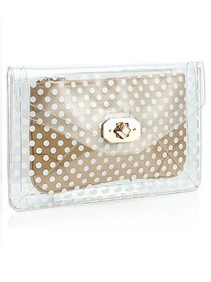 """<p>Want a bag that'll instantly update your look? This Accessorize clutch is bang on trend with its transparent envelope with a polka dot clutch inside so your belongings are safe from prying eyes.</p> <p>Dotty Perspex Clutch, £29, <a href=""""http://uk.accessorize.com/view/product/uk_catalog/acc_1,acc_1.1/3892202100"""" target=""""_blank"""">Accessorize</a></p>"""