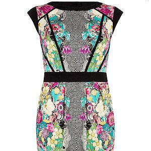 """<p>This symmetric print is a modern take on florals. The black waistband will highlight your proportions perfectly.<br /><br />Floral lace tulip dress, £39.50, <a href=""""http://www.dorothyperkins.com/webapp/wcs/stores/servlet/ProductDisplay?beginIndex=0&viewAllFlag=&catalogId=33053&storeId=12552&productId=9189962&langId=-1&categoryId=&parent_category_rn=&searchTerm=07605003&resultCount=1&geoip=home%20"""" target=""""_blank"""">Dorothy Perkins</a><br /><br /></p>"""