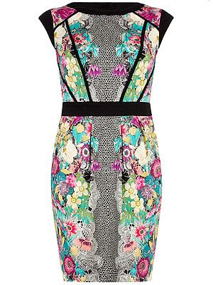 "<p>This symmetric print is a modern take on florals. The black waistband will highlight your proportions perfectly.<br /><br />Floral lace tulip dress, £39.50, <a href=""http://www.dorothyperkins.com/webapp/wcs/stores/servlet/ProductDisplay?beginIndex=0&viewAllFlag=&catalogId=33053&storeId=12552&productId=9189962&langId=-1&categoryId=&parent_category_rn=&searchTerm=07605003&resultCount=1&geoip=home%20"" target=""_blank"">Dorothy Perkins</a><br /><br /></p>"