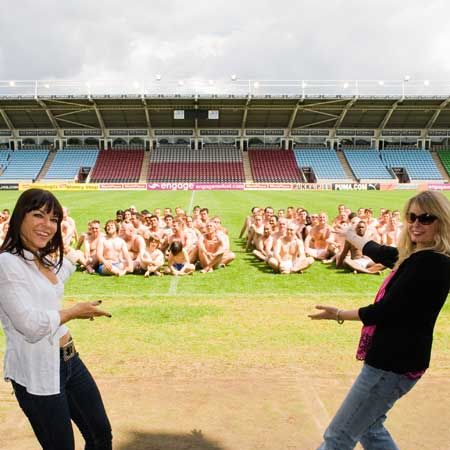 Publishing Director, Justine Southall and<em> Cosmo</em> Editor, Louise Court show off the hoard of hotties who turned up to triumph over testicular cancer and break a world record  <br />