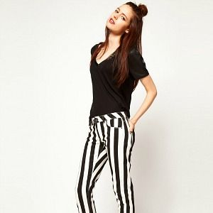 <p>Monochrome is having a fashion moment. And so are stripes. Combine the two for off-the-scale stylishness. We're loving the leg-lengthening properties of the vertical stripes, too.</p>