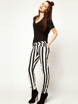 "<p>Monochrome is having a fashion moment. And so are stripes. Combine the two for off-the-scale stylishness. We're loving the leg-lengthening properties of the vertical stripes, too.</p> <p>Elgin mono stripe jean, £35, <a title=""ASOS"" href=""http://www.asos.com/ASOS/ASOS-Elgin-Skinny-Jean-in-Mono-Stripe/Prod/pgeproduct.aspx?iid=2562293"" target=""_blank"">ASOS </a></p>"