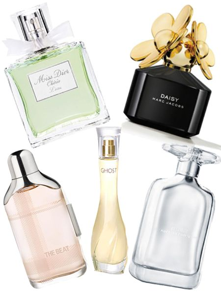 Narciso Rodriguez essence, £50 for 50ml<br /><br />Marc Jacobs Daisy Eau De Parfum, £45 for 50ml<br /><br />Miss Dior Chérie L'Eau, £39 for 50ml<br /><br />Burberry The Beat, £27 for 30ml<br /><br />Ghost Luminous, £23 for 30ml<br /><br />