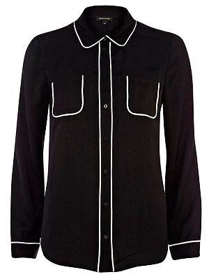 "<p>Ever wished you could go to work in your pyjamas? Well, now you can (sort of). We love the contrast piping detail on this River Island shirt - and reckon it's a s comfy as a pair of PJs, too.</p> <p>Black piped shirt, £25, <a href=""http://www.riverisland.com/women/blouses--shirts/shirts/Black-long-sleeve-piped-shirt-634454%20"" target=""_blank"">River Island</a></p>"