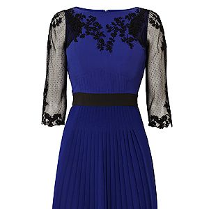 """<p>For those days when you have to rush from work to an evening do, this navy embroidered dress is just the ticket. The sheer embroidered sleeves give it a touch of elegance paired with heels and a smart clutch. It works equally well for the office too with a black blazer thrown over the top. The cut is totally gorgeous and flatters most body shapes too.</p><p>Navy embroidered dress, £190, <a href=""""http://www.karenmillen.com/floral-embroidery-dress/clothing/karenmillen/fcp-product/102DQ00210"""" target=""""_blank"""">Karen Millen</a></p>"""