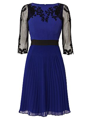 "<p>For those days when you have to rush from work to an evening do, this navy embroidered dress is just the ticket. The sheer embroidered sleeves give it a touch of elegance paired with heels and a smart clutch. It works equally well for the office too with a black blazer thrown over the top. The cut is totally gorgeous and flatters most body shapes too.</p> <p>Navy embroidered dress, £190, <a href=""http://www.karenmillen.com/floral-embroidery-dress/clothing/karenmillen/fcp-product/102DQ00210"" target=""_blank"">Karen Millen</a></p>"