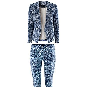 """<p>H&M have been inventive with the blue hue in creating a wild printed blazer and skinny jeans. Wear it top to toe with just a simple white vest and a navy court shoe or go super casual with sneakers and a baseball cap. Either way it's a rocking suit and a great price-point.</p><p>H&M <a href=""""http://www.hm.com/gb/product/09214?article=09214-B#cm_vc=GOES_WITH_PD"""" target=""""_blank"""">textured jacket</a> £29.99 & <a href=""""http://www.hm.com/gb/product/09214?article=09214-B#cm_vc=GOES_WITH_PD"""" target=""""_blank"""">matching jeans</a> £14.99</p>"""