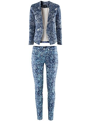 "<p>H&M have been inventive with the blue hue in creating a wild printed blazer and skinny jeans. Wear it top to toe with just a simple white vest and a navy court shoe or go super casual with sneakers and a baseball cap. Either way it's a rocking suit and a great price-point.</p> <p>H&M <a href=""http://www.hm.com/gb/product/09214?article=09214-B#cm_vc=GOES_WITH_PD"" target=""_blank"">textured jacket</a> £29.99 & <a href=""http://www.hm.com/gb/product/09214?article=09214-B#cm_vc=GOES_WITH_PD"" target=""_blank"">matching jeans</a> £14.99</p>"