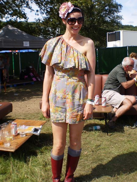 "<p>Who: Michelle, London<br /><br />Wear: Topshop playsuit, Biba sunglasses, Marc Jacobs wellies<br /><br />What festival: <a target=""_blank"" href=""http://www.bigchill.net/"">The Big Chill</a></p>"