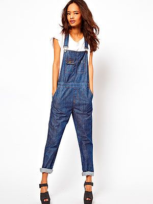 "<p>For a true take on the denim dungarees trend, step into this dark wash pair from ASOS. We'd wear them exactly as styled here - with a simple tee and rolled-up hems 'n' heels for a super-cool casual look to give Alexa Chung a run for her money.</p> <p>Dark wash denim dungarees, £45, <a title=""ASOS"" href=""http://www.asos.com/ASOS/ASOS-Dark-Wash-Denim-Dungaree/Prod/pgeproduct.aspx?iid=2769578&SearchQuery=dungarees&sh=0&pge=0&pgesize=-1&sort=-1&clr=Washedindigo"" target=""_blank"">ASOS</a></p>"