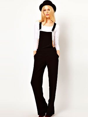 "<p>Dungarees don't always mean denim, y'know. This smart black tailored pair from River Island would even work for the office - just add a monochrome shirt and heels to be a fashion BOSS.</p> <p>Black smart dungarees, £40, <a title=""River Island"" href=""http://www.riverisland.com/women/playsuits--jumpsuits/jumpsuits/Black-smart-dungarees--633906%20"" target=""_blank"">River Island</a></p>"