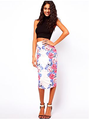 """<p>They say symmetry is perfection and with this pencil skirt dress in mirror floral print we tend to agree! If you're luck enough to have abs (damn you Easter chocolate!) then match this skirt with a crop top.</p> <p>Skirt, £22, <a href=""""http://www.asos.com/ASOS/ASOS-Pencil-Skirt-in-Mirror-Floral-Print/Prod/pgeproduct.aspx?iid=2845642&WT.ac=rec_viewed"""" target=""""_blank"""">Asos </a> </p>"""