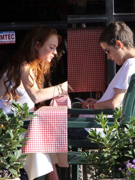 Are Lindsay Lohan and Sam Ronson back on? We realise you are all past caring by now, but it was nice to see the pair lunching together in Hollywood. Even if they were looking stoney-faced and Ronson was distracted by her BlackBerry...