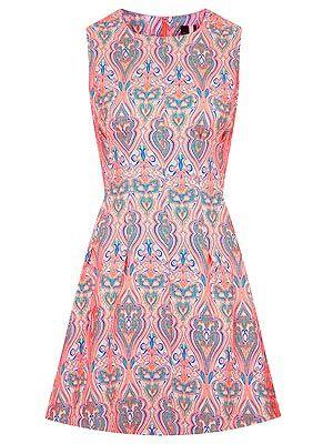 Blue, Dress, Pattern, Textile, Red, One-piece garment, Orange, Style, Teal, Formal wear,