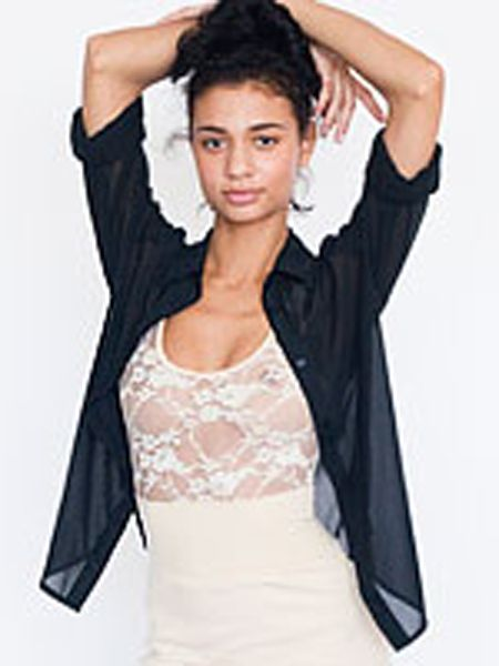 "Lace bodies are all over the high street, great for layering under crop tops or worn on their own, just don't forget a sexy bra!<br /><br />£32, <a target=""_blank"" href=""http://store.americanapparel.co.uk/rsals302.html"">www.americanapparel.co.uk</a><br />"