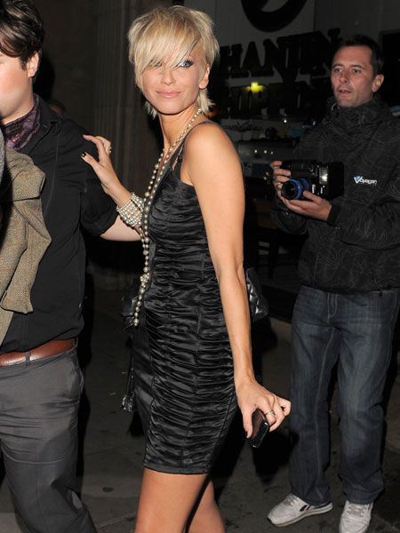 Sarah Harding looked slinky in her quilted LBD accessorised with pearls as she left Mahiki after the St Trinian's wrap party. The Girls Aloud star has a cameo role in the sequal, which sees the 27-year-old in a school uniform of leather hotpants and a tie!  <br />