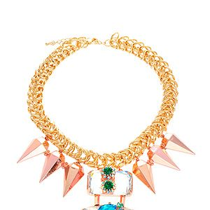 """<p>Chunky gold chain, spiked drops and oversized gems, this statement necklace is so cool it hurts. We want it, naturally.</p><p>Necklace, £50, <a href=""""http://www.asos.com/ASOS/ASOS-Jewelled-Punk-Spike-Necklace/Prod/pgeproduct.aspx?iid=2709212&cid=6992&sh=0&pge=0&pgesize=200&sort=-1&clr=Multi"""" target=""""_blank"""">ASOS</a></p>"""