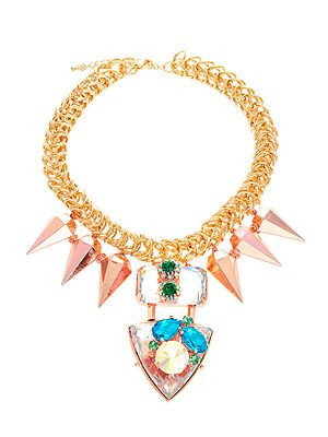 """<p>Chunky gold chain, spiked drops and oversized gems, this statement necklace is so cool it hurts. We want it, naturally.</p> <p>Necklace, £50, <a href=""""http://www.asos.com/ASOS/ASOS-Jewelled-Punk-Spike-Necklace/Prod/pgeproduct.aspx?iid=2709212&cid=6992&sh=0&pge=0&pgesize=200&sort=-1&clr=Multi"""" target=""""_blank"""">ASOS</a></p>"""