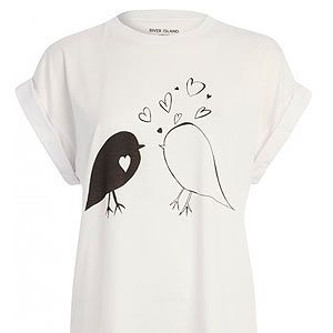 """<p>How cute is this River Island tee? It looks like the little birds are serenading each other with love hearts. Wear with black skinny jeans and ballerina pumps.</p><p>River Island tee, £15, <a href=""""http://fashiontargetsbreastcancer.org.uk/shop/tops/river-island-bird-print-tee"""" target=""""_blank"""">Fashion Targets Breast Cancer</a></p>"""