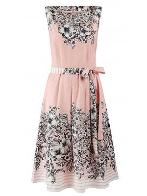 "<p>Add a touch of 50s style to your spring wardrobe with this delicate silk mix printed pink tea dress from Laura Ashley. Perfect for all those summer garden parties darling!</p> <p>Laura Ashley dress, £95, <a href=""http://fashiontargetsbreastcancer.org.uk/shop/dresses/laura-ashley-silk-mix-fit-flare-dress"" target=""_blank"">Fashion Targets Breast Cancer</a></p>"