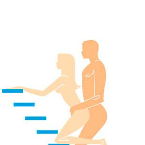 <p><strong>Erotic Instructions:</strong> Kneel in front of your partner at the landing of a staircase. Both of you should be facing the stairs, and your bodies should mesh together tightly. While you reach up and hold on to each side of the banister for support (or to the stairs themselves), he-should hold your hips while he penetrates you from behind.</p><p><strong>Why You'll Love It:</strong> This mind-blowing pose lets your man use the incline of the staircase to enter you at-a unique upward tilt, allowing him unlimited access to your G-spot. For more intense pressure, you can bear down on him so your butt meshes super snuggly with-his groin-talk about a stairway to heaven!</p><p><strong>Cosmo Hint:</strong> Double your (and his) pleasure during this pose. If you hold on to the stairs with one hand and trigger your passion button with the other, the sensation is spine-tingling. When you can't take it anymore, reach through your legs to grope his testicles, sending the extra bliss his way.</p>