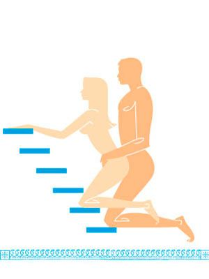 <p><strong>Erotic Instructions:</strong> Kneel in front of your partner at the landing of a staircase. Both of you should be facing the stairs, and your bodies should mesh together tightly. While you reach up and hold on to each side of the banister for support (or to the stairs themselves), he-should hold your hips while he penetrates you from behind.</p> <p><strong>Why You'll Love It:</strong> This mind-blowing pose lets your man use the incline of the staircase to enter you at-a unique upward tilt, allowing him unlimited access to your G-spot. For more intense pressure, you can bear down on him so your butt meshes super snuggly with-his groin-talk about a stairway to heaven!</p> <p><strong>Cosmo Hint:</strong> Double your (and his) pleasure during this pose. If you hold on to the stairs with one hand and trigger your passion button with the other, the sensation is spine-tingling. When you can't take it anymore, reach through your legs to grope his testicles, sending the extra bliss his way.</p>