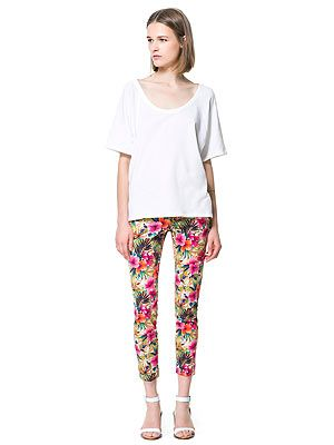 """<p>Show off those pretty ankles in a pair of statement crop trousers like these colourful tropical print ones from Zara. As they're quote bold you might want to wear them with a  simple white tee.</p> <p>Trousers, £29.99, <a href=""""http://www.zara.com/webapp/wcs/stores/servlet/product/uk/en/zara-neu-S2013/363008/1258519/PRINTED+CROPPED+TROUSERS"""" target=""""_blank"""">Zara</a></p> <p> </p>"""