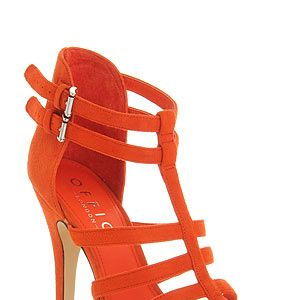 """<p>These orange suede strappy heels from Office are bound to get you noticed. Go all out with an LBD or dress up your jeans and tee with them.</p><p>Heels, £55, <a href=""""http://www.office.co.uk/womens/office/oppose_strap_sandal/37/13564/38536/1?fs=13564"""" target=""""_blank"""">Office</a></p>"""