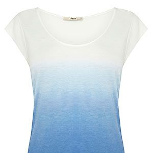 """<p>As celebs like Jennifer Aniston and Megan Fox prove, you just can't go wrong with a simple white tee and jeans combo. Throw this blue ombre Oasis top over ripped jeans and heels for a casual yet chic look.</p><p>T-shirt, £18, <a href=""""http://www.oasis-stores.com/ombre-t-shirt/clothing/oasis/fcp-product/3190364317"""" target=""""_blank"""">Oasis</a></p>"""