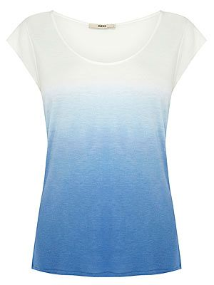 "<p>As celebs like Jennifer Aniston and Megan Fox prove, you just can't go wrong with a simple white tee and jeans combo. Throw this blue ombre Oasis top over ripped jeans and heels for a casual yet chic look.</p> <p>T-shirt, £18, <a href=""http://www.oasis-stores.com/ombre-t-shirt/clothing/oasis/fcp-product/3190364317"" target=""_blank"">Oasis</a></p>"