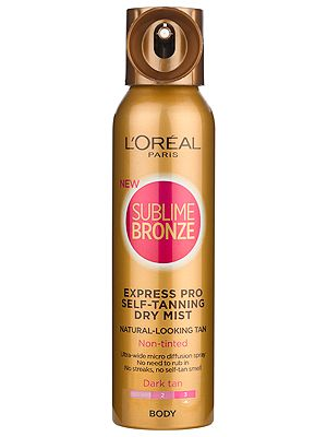 "<p>Wondered what Cheryl Cole wears in her campaign shots for Sublime Bronze? Well, this is it and if you can take a darker shade of golden like the L'Oreal girl, it couldn't be easier than with this dry spray. It has a super-wide diffuser and doesn't even require rubbing in – mist it on and wait for your glow to show.  <br /> <br />L'Oreal Paris Sublime Bronze Express Pro Self-Tanning Dry Mist Dark Tan, £15.49, <a href=""http://www.loreal-paris.co.uk/self-tan/sublime-bronze/express-pro-self-tanning-dry-mist/dark-tan.aspx"" target=""_blank"">loreal-paris.co.uk</a></p>"