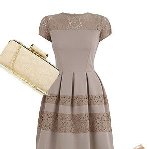 <p>Channel your inner Kate Middleton and think 'less is more' with a neutral theme. Think this taupe Almari dress with elegant lace inserts, a cream Stylist Pick clutch with discreet snake print and, of course, the classic nude Dune courts. Taupe works best with a tan to avoid looking washed out so make time to book that spray tan before the wedding! KMiddy who?</p>