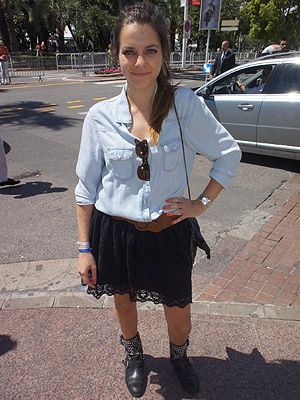 <p>We literally ran after this girl when we spotted her at Cannes Film Festival. The busy fashion star looked gorgeous dressed in her H&M denim blouse teamed with those Zara boots. Want!</p>