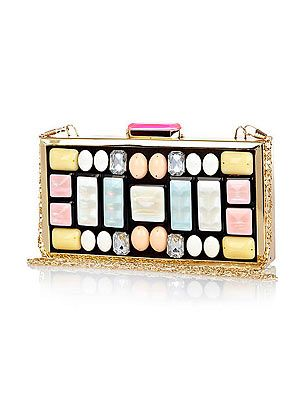 "<p>This cute clutch is a gem of a find and a proper piece of decadent arm candy! The stuck-on stones have a DIY feel - if anyone asks, we made it ourselves, 'kay?</p> <p>Bag, £35, <a href=""http://www.riverisland.com/women/bags--purses/clutch-bags/Pink-gem-stone-embellished-box-clutch-bag-634899"" target=""_blank"">River Island</a></p>"