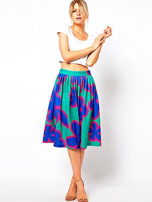 "<p>Oh how we dream of displaying long, tanned limbs and toned abs in this eye-popping floral print skirt by Asos. And while we wait to turn into Miranda Kerr, just the skirt will do.</p> <p>Skirt, £45, <a href=""http://www.asos.com/ASOS/ASOS-Midi-Skirt-in-Oversized-Floral-Print/Prod/pgeproduct.aspx?iid=2931443&WT.ac=rec_viewed"" target=""_blank"">Asos</a></p>"