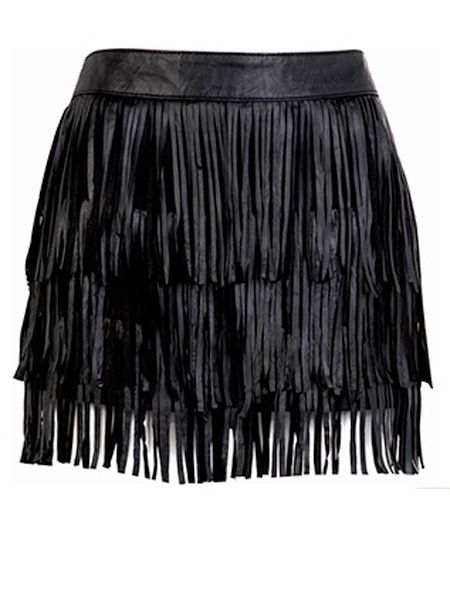 """Fringing is big for summer and even bigger for winter! Be ahead of the Autumn trends and work this leather skirt like a true rock chick goddess<br /><br />£59.99, <a target=""""_blank"""" href=""""http://xml.riverisland.com/flash/content.php"""">www.riverisland.com</a><br />"""