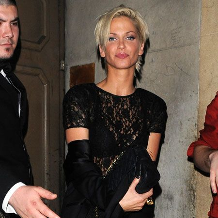 Sarah Harding rarely seems to go out in anything other than a black ensemble and she looked less made-up than usual and rather chic and stylish in a lacy number as she left Mahiki... But we can still see your bra, Harding!  <br />
