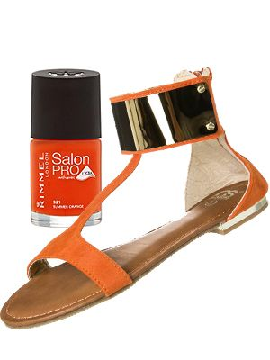 "<p>Tasty tangerine is trending this season and we think it's the hottest hue for your toes. Slick this gel-shine effect orange on and double the impact with some matching summer sandals.<br /><br />Rimmel Salon Pro Summer Orange, £4.49, <a href=""http://www.superdrug.com/nails/rimmel-new-salon-pro-summer-orange-orange/invt/643365"" target=""_blank"">Superdrug</a>  and Cassis côte d'azur sandals, £46, <a href=""http://www.zalando.co.uk/cassis-cote-d-azur-resli-sandals-orange-c4011b025-205.html"" target=""_blank"">Zalando </a></p>"