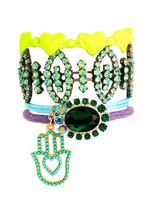 "<p>With neon hearts, pastel threads, Fatima hand charm and gems everywhere we look, this statement bracelet from Asos is so cool we could cry. And we did a little bit. Don't judge.</p> <p>Bracelet, £15, <a href=""http://www.asos.com/ASOS/ASOS-Jewel-Fabric-Bracelet-Multipack/Prod/pgeproduct.aspx?iid=2562593&cid=7662&sh=0&pge=0&pgesize=20&sort=-1&clr=Multi"" target=""_blank"">Asos</a></p>"