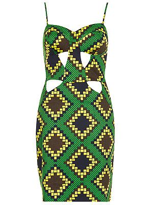 """<p>Get your flirt on with this green Aztec print shift dress with sexy cutout detail that leaves just enough to the imagination!</p> <p>Dress, £65, <a href=""""http://www.topshop.com/webapp/wcs/stores/servlet/ProductDisplay?beginIndex=1&viewAllFlag=&catalogId=33057&storeId=12556&productId=10708986&langId=-1&sort_field=Relevance&categoryId=277012&parent_categoryId=208491&pageSize=2000"""" target=""""_blank"""">Topshop</a></p>"""