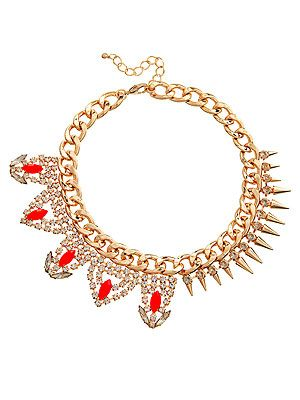 "<p>Can't decide between punky spikes or baroque diamante? No need to with this mixed up necklace. One half diamante and gold studs, one half red faceted jewels and diamante, it's genius in jewellery. Clever Asos.</p> <p>Necklace, £40, <a href=""http://www.asos.com/ASOS/ASOS-Mix-It-Necklace/Prod/pgeproduct.aspx?iid=2972690&cid=4175&sh=0&pge=0&pgesize=204&sort=-1&clr=Orange"" target=""_blank"">Asos</a></p>"