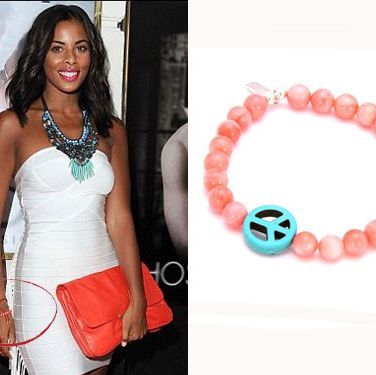 <p>The Saturdays songstress shows that jewellery doesn't have to be expensive to look amazing. Eliza Doolitle and Ellie Goulding  must agree as they have both been spotted sporting this bracelet too.  We love the mix of colours and the cute peace charm and it's a bit of a steal too!</p>