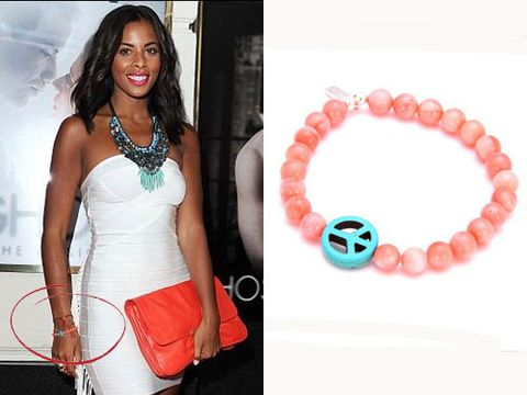 """<p>The Saturdays songstress shows that jewellery doesn't have to be expensive to look amazing. Eliza Doolitle and Ellie Goulding  must agree as they have both been spotted sporting this bracelet too.  We love the mix of colours and the cute peace charm and it's a bit of a steal too!</p>   <p>£40,<a href=""""http://www.chlobo.co.uk/products/Summer-Love-Medium-Ball.html#""""target=""""_blank"""">chlobo.co.uk</a></p>"""