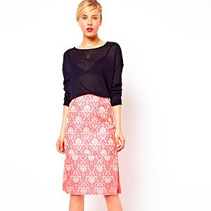 """<p>A pencil skirt with a textured jacquard finish, coral fluro hue and sexy side slip? You do spoil us Asos…</p><p>Skirt, £40, <a href=""""http://www.asos.com/ASOS/ASOS-Pencil-Skirt-in-Statement-Fluro-Jacquard/Prod/pgeproduct.aspx?iid=2799064&cid=2623&sh=0&pge=0&pgesize=204&sort=-1&clr=Pink"""" target=""""_blank"""">Asos</a></p>"""