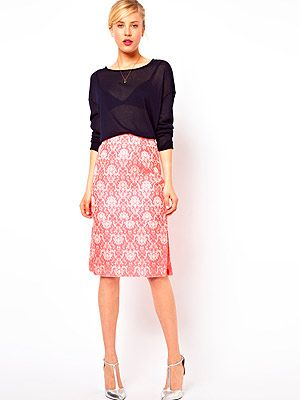 "<p>A pencil skirt with a textured jacquard finish, coral fluro hue and sexy side slip? You do spoil us Asos…</p> <p>Skirt, £40, <a href=""http://www.asos.com/ASOS/ASOS-Pencil-Skirt-in-Statement-Fluro-Jacquard/Prod/pgeproduct.aspx?iid=2799064&cid=2623&sh=0&pge=0&pgesize=204&sort=-1&clr=Pink"" target=""_blank"">Asos</a></p>"