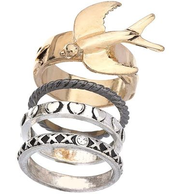"""Rings are huge at the moment, think Phoebe in 'Friends' and stack on as many as you can, voila!<br /><br />£7, <a target=""""_blank"""" href=""""http://www.topshop.com/webapp/wcs/stores/servlet/ProductDisplay?beginIndex=0&viewAllFlag=true&catalogId=19551&storeId=12556&categoryId=59926&parent_category_rn=42317&productId=1351232&langId=-1"""">www.topshop.com</a><br /><br /><br /><br />"""