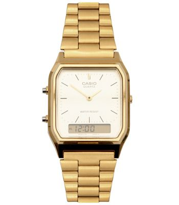 """Steal your boyfriend/hubbie/dad's watch and work that vintage chic look<br /><br />£35, <a target=""""_blank"""" href=""""http://www.asos.com/Casio/Casio-Retro-Style-Dial-Digital-Metal-Bracelet-Watch/Prod/pgeproduct.aspx?iid=795161&cid=5088&sh=0&pge=0&pgesize=200&sort=-1&clr=Gold"""">www.asos.com</a><br /><br /><br /><br />"""